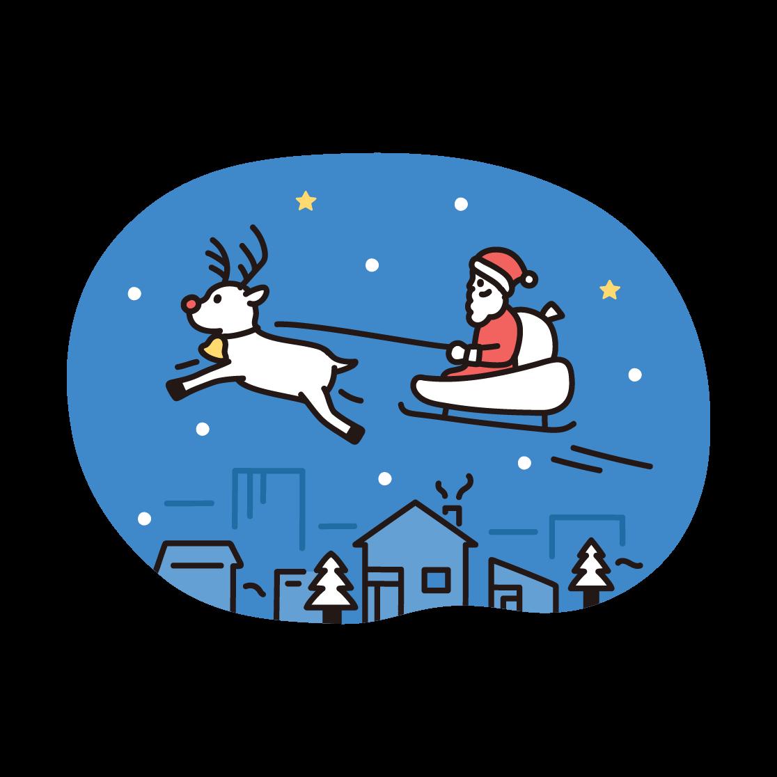 クリスマス(サンタとトナカイ)のイラスト
