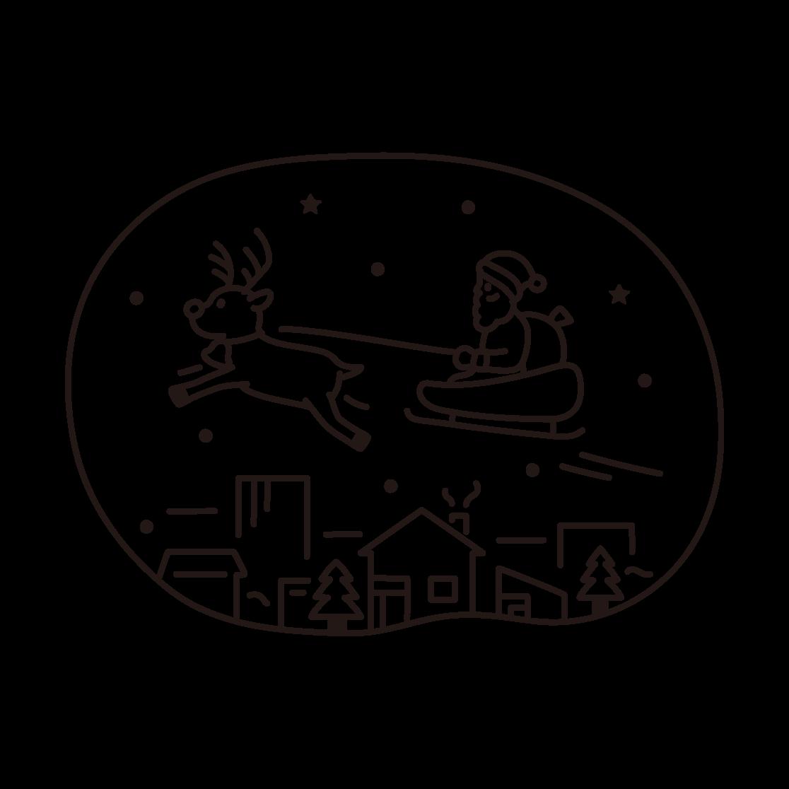 クリスマス(サンタとトナカイ)の線画イラスト