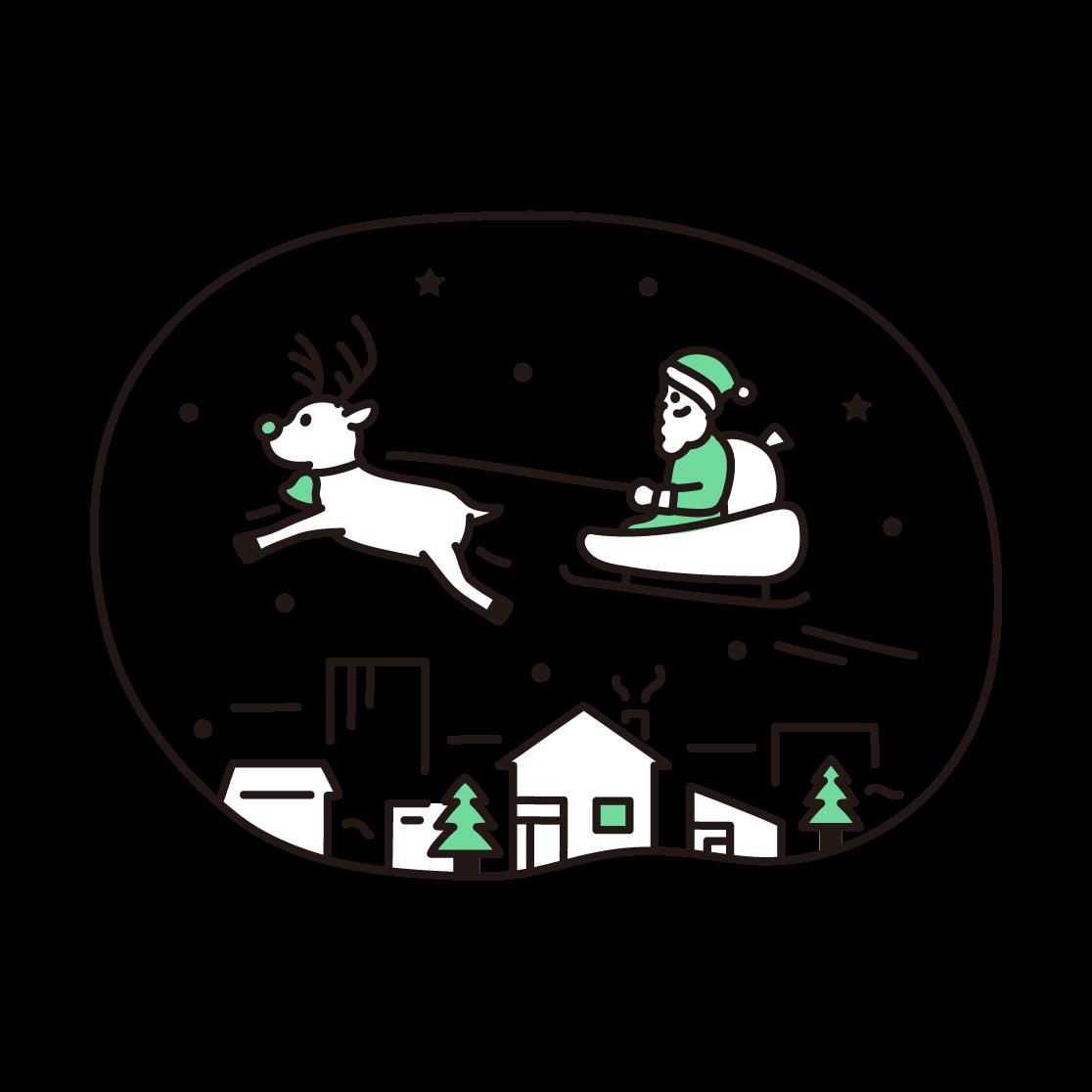 クリスマス(サンタとトナカイ)の単色イラスト