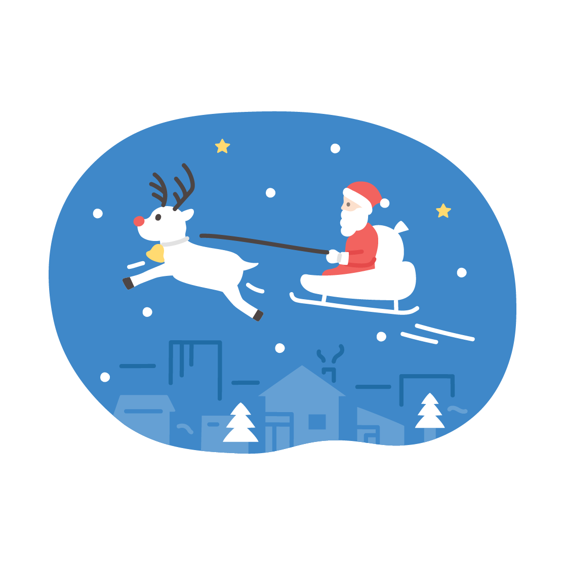 クリスマス(サンタとトナカイ)の塗りイラスト