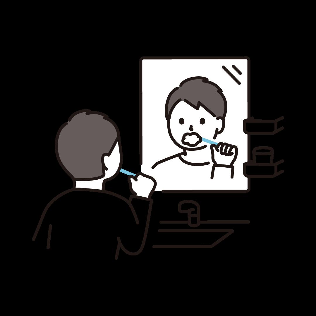 鏡に向かって歯磨きをする男性のイラスト
