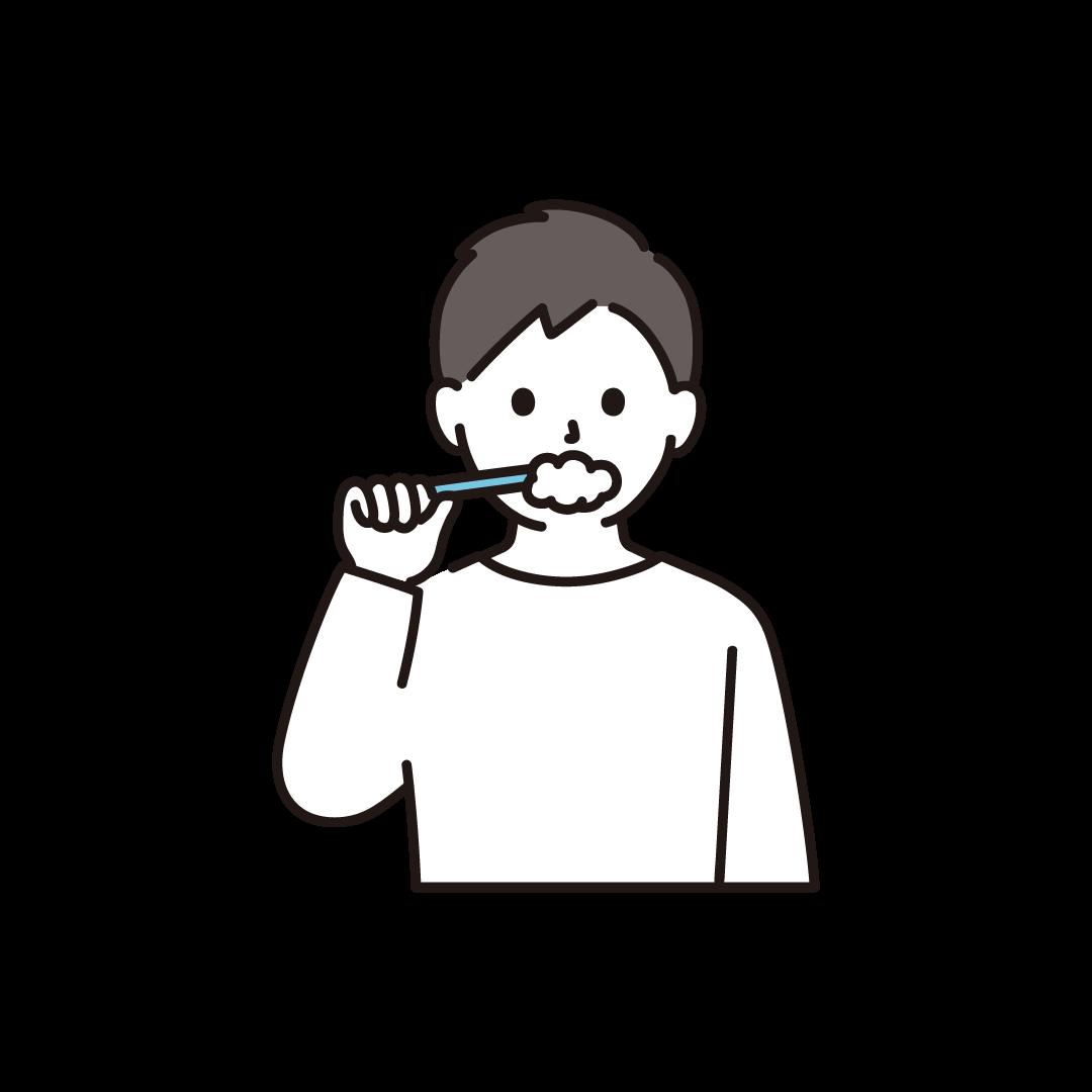 歯磨きをする男性