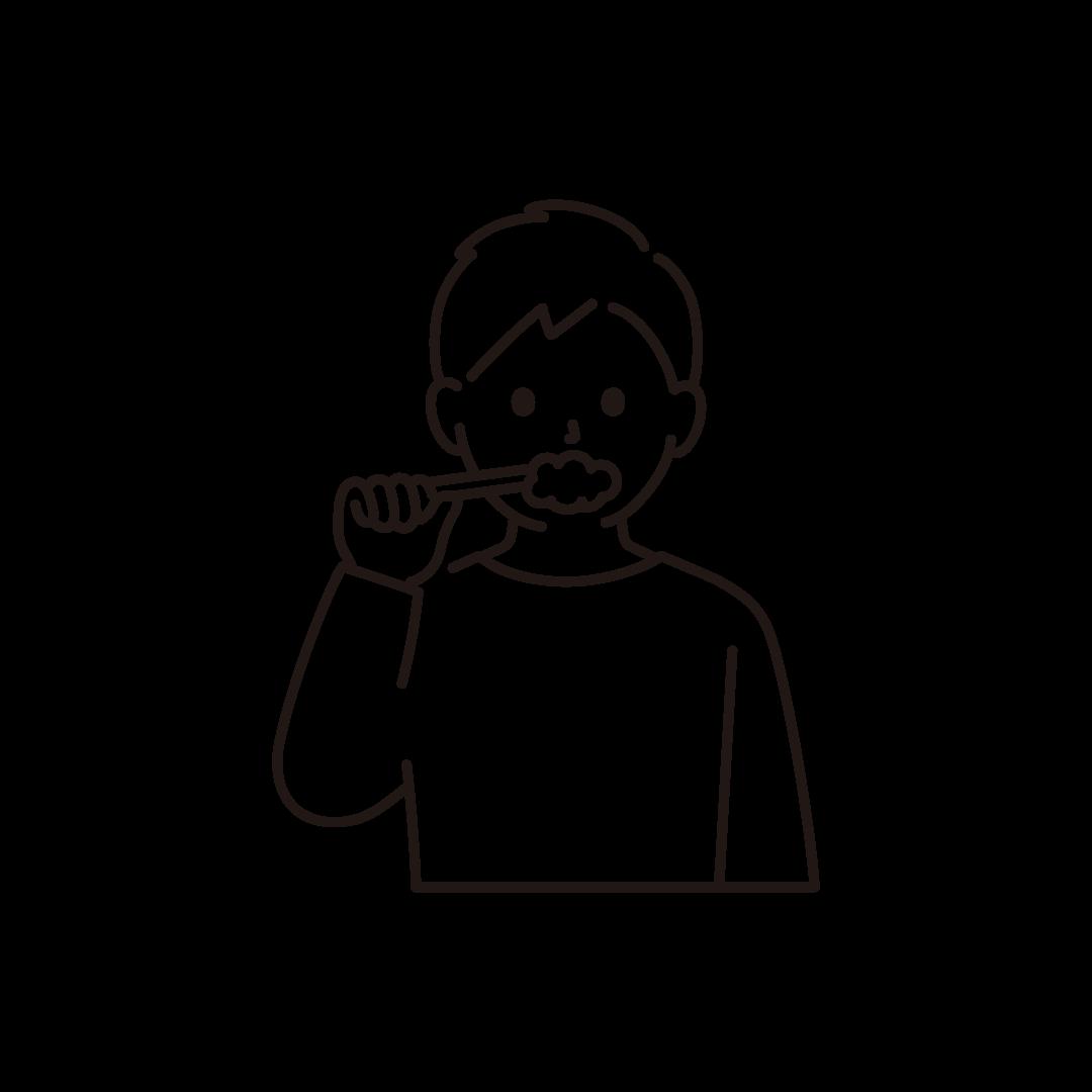 歯磨きをする男性のイラスト【線画】
