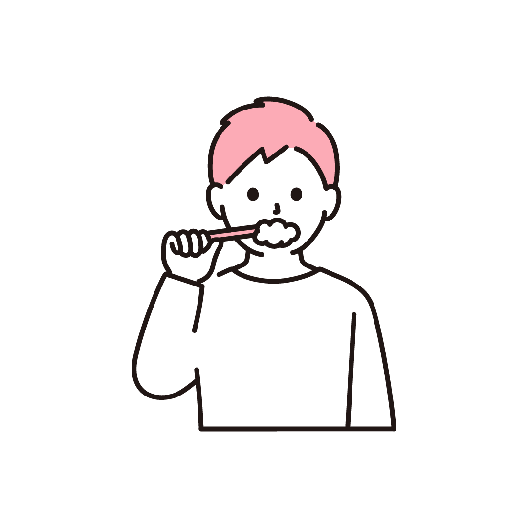 歯磨きをする男性のイラスト【単色】