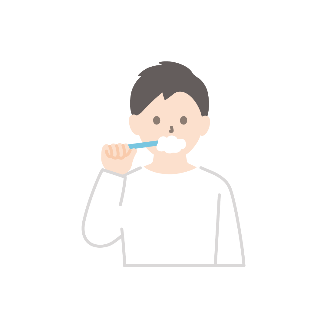 歯磨きをする男性のイラスト【塗り】