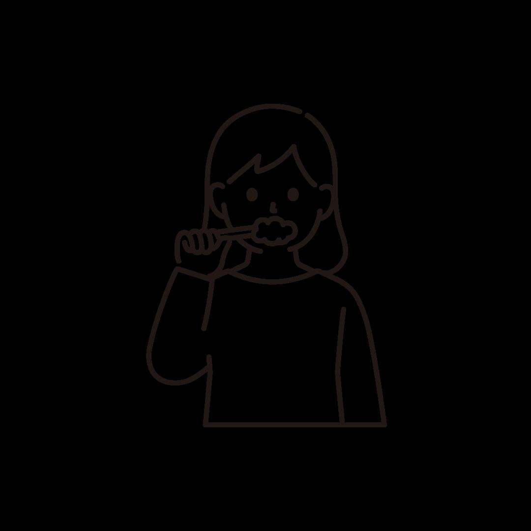 歯磨きをする女性のイラスト【線画】