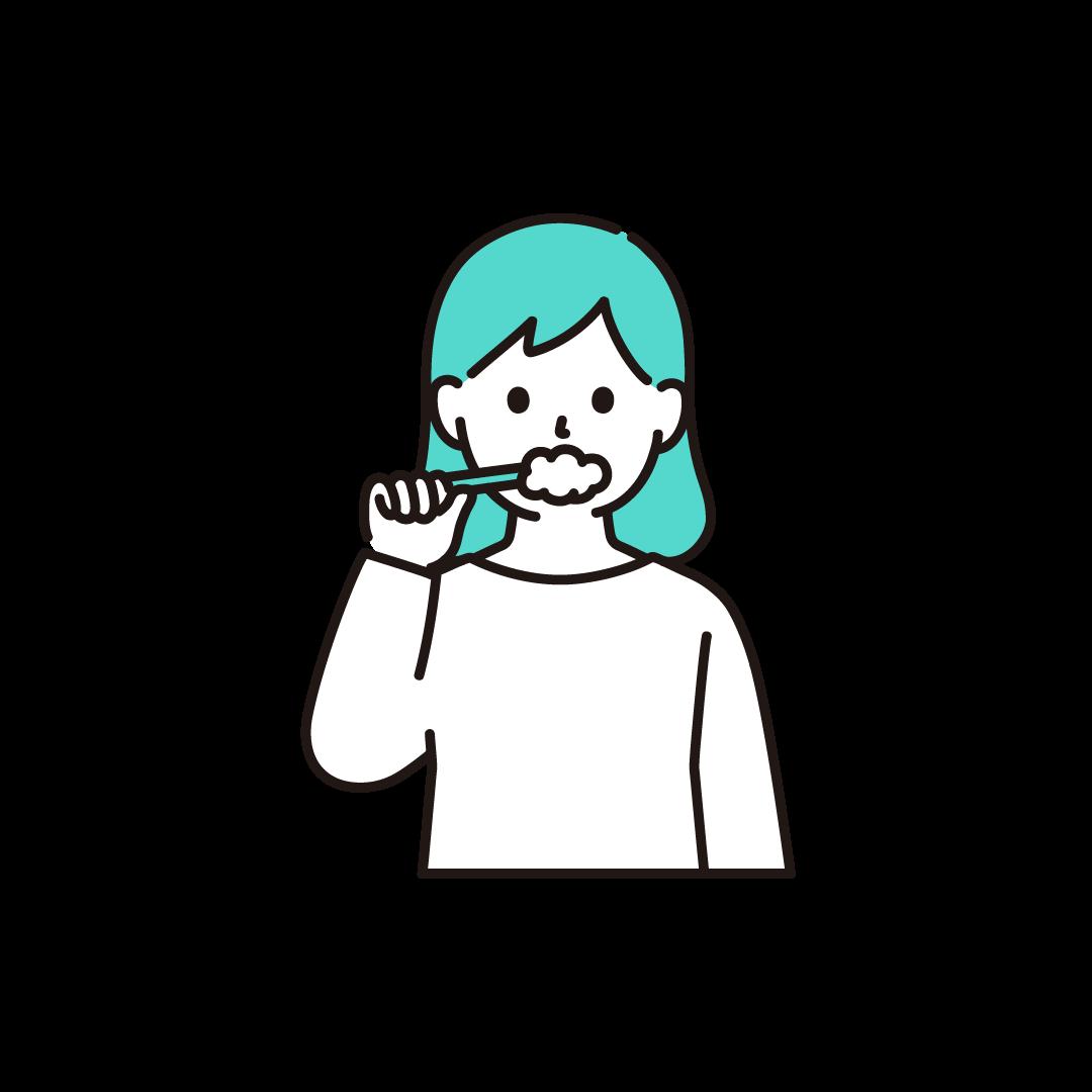 歯磨きをする女性のイラスト【単色】