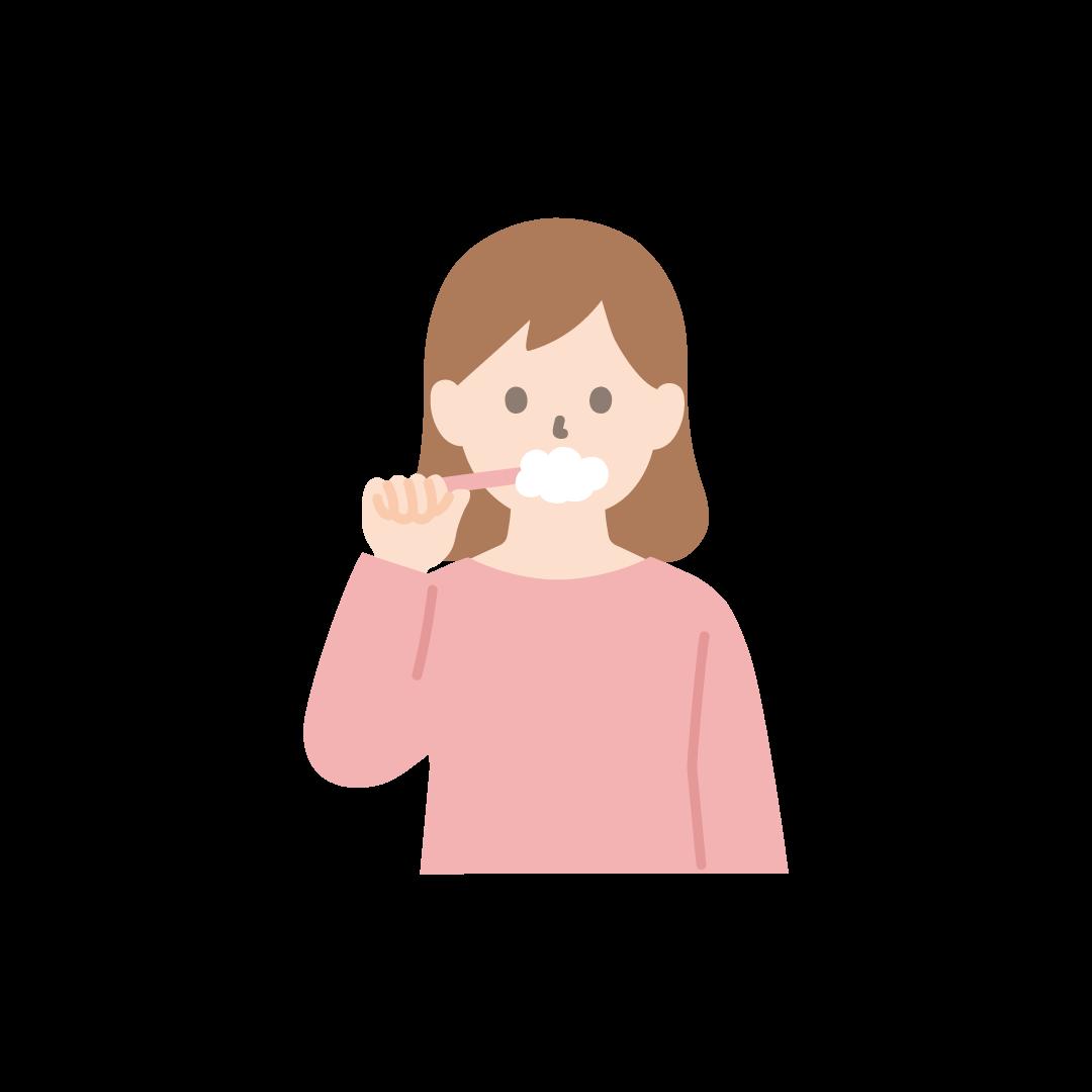 歯磨きをする女性のイラスト【塗り】