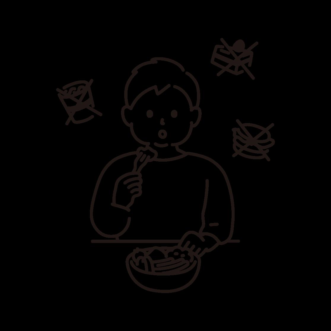 食事制限をする男性のイラスト(線画)
