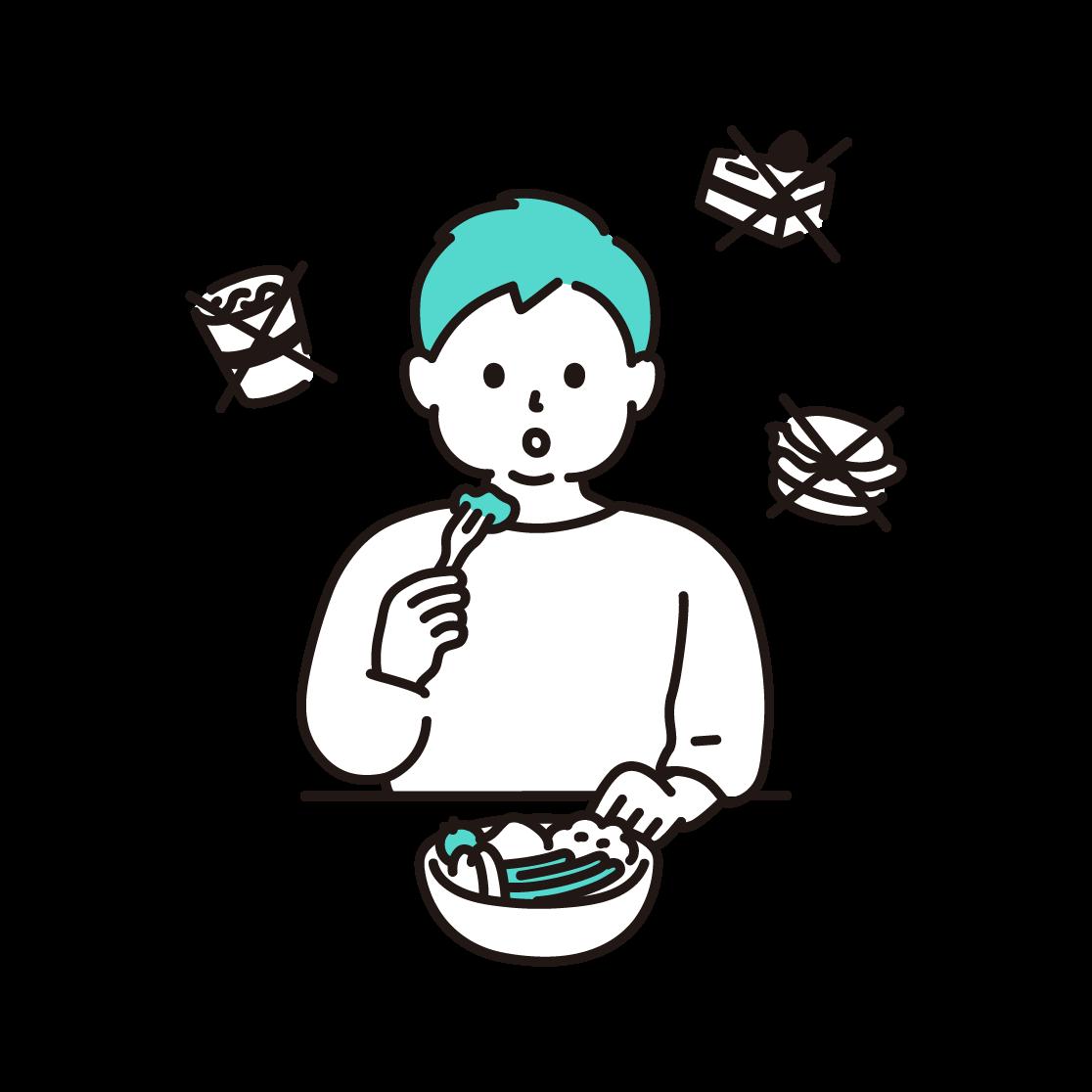 食事制限をする男性のイラスト(単色)
