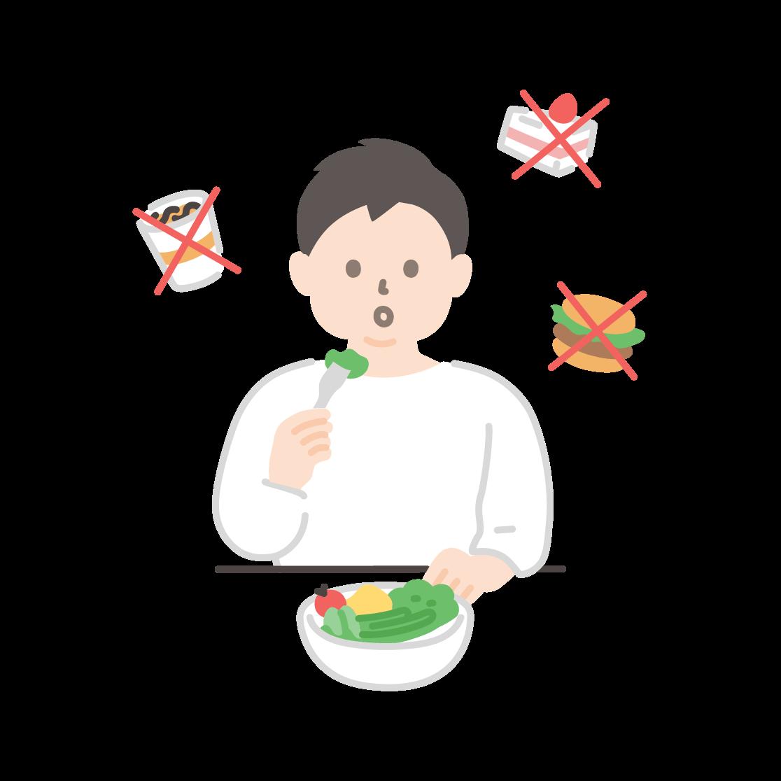 食事制限をする男性のイラスト(塗り)