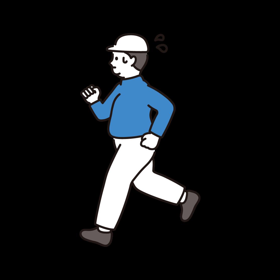 ジョギングをする男性のイラスト