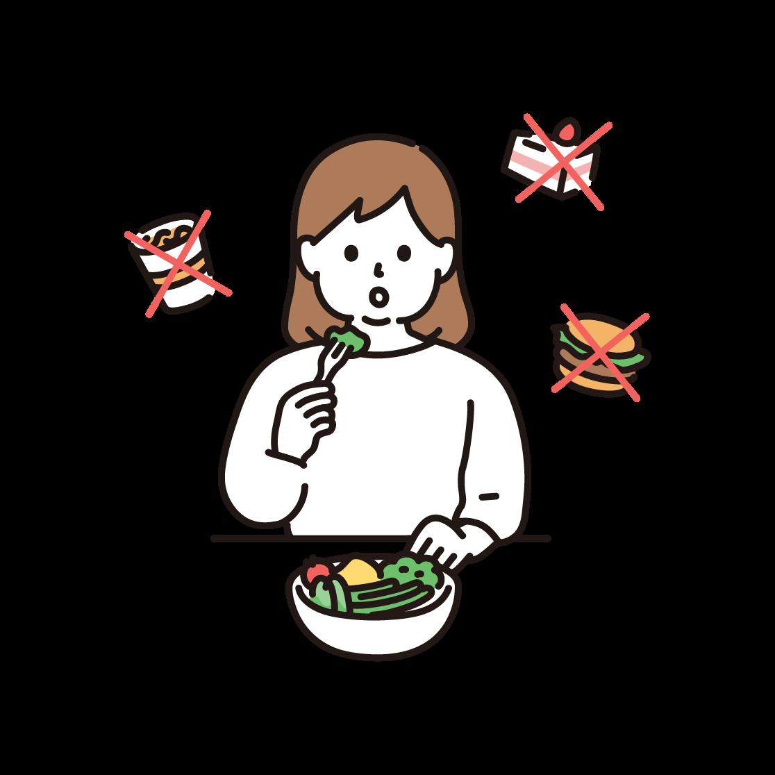食事制限(ダイエット)をする女性