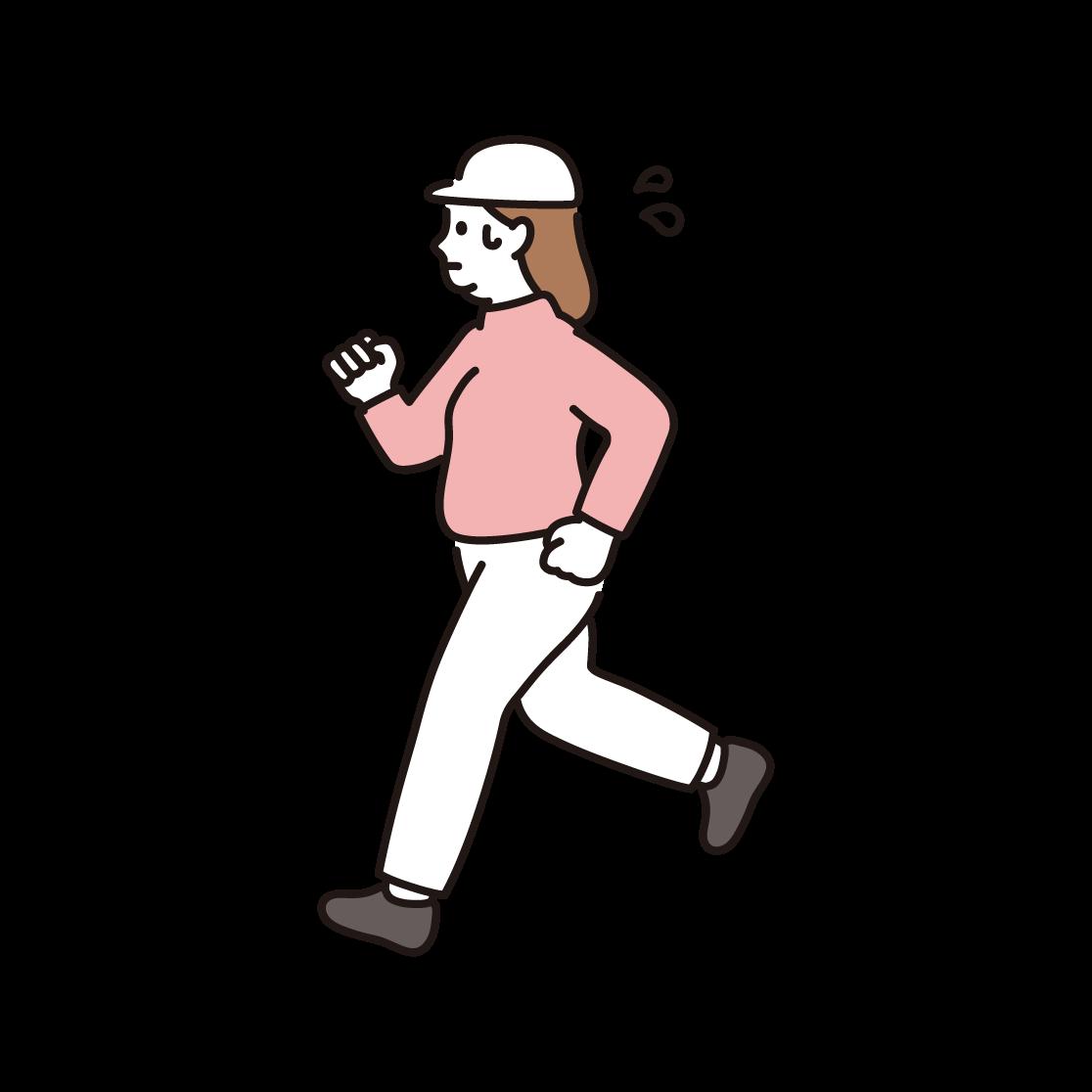 ジョギング(ダイエット)をする女性