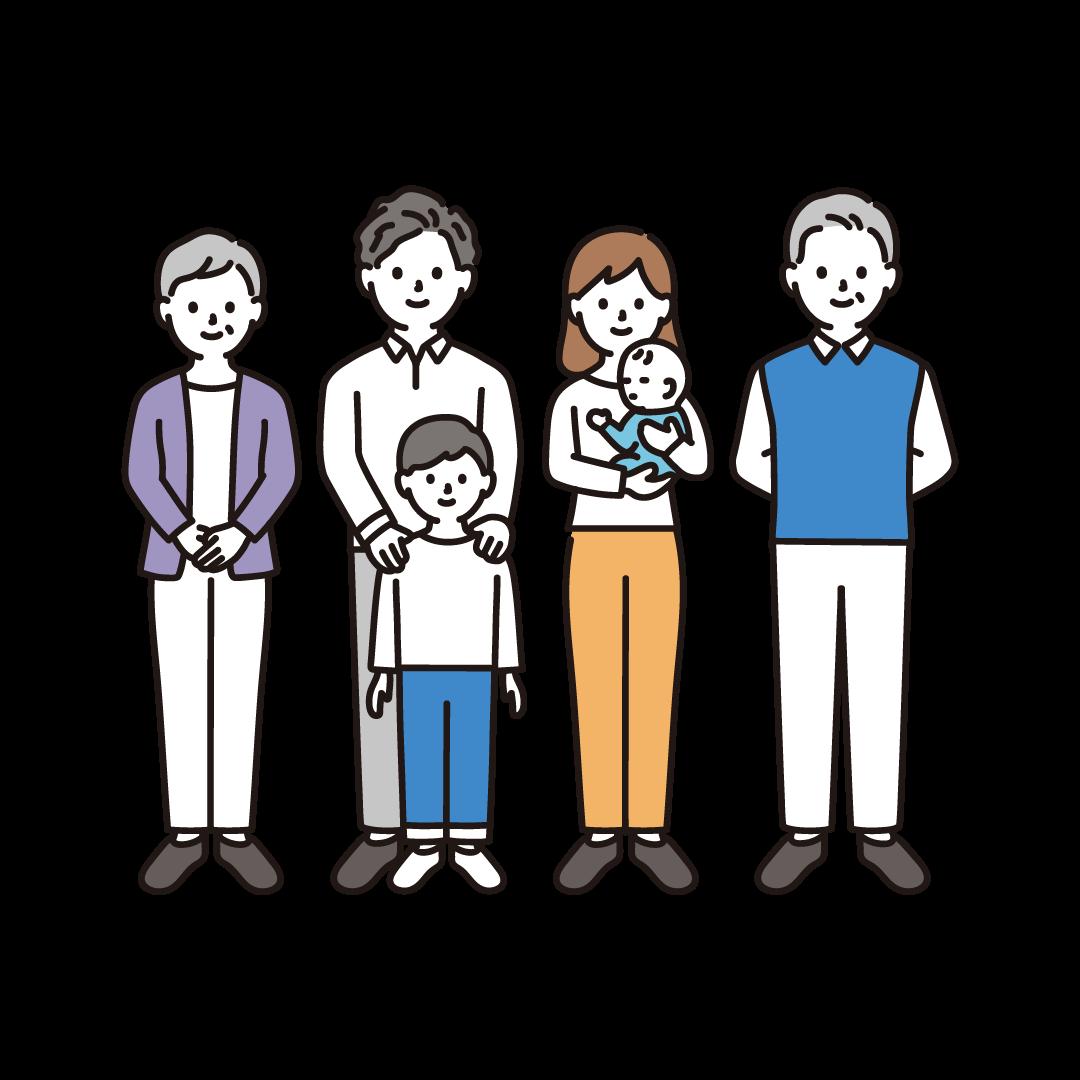 3世代家族(全身)のイラスト