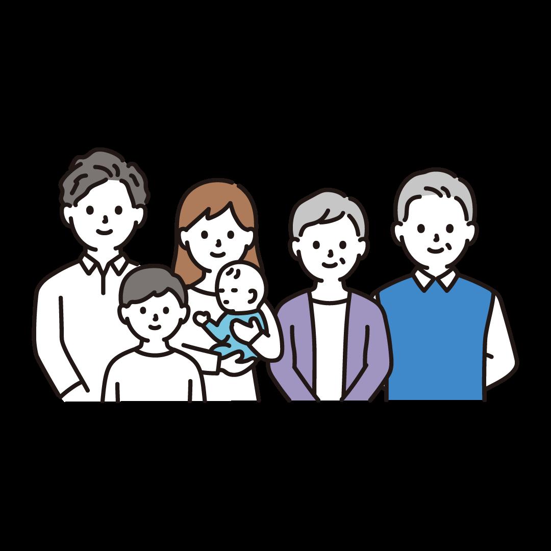 3世代家族(上半身)のイラスト