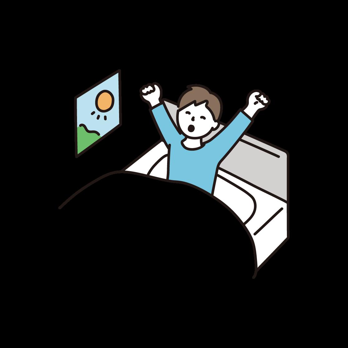 起きる男性