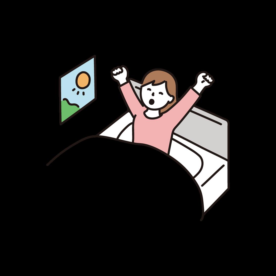 起きる女性