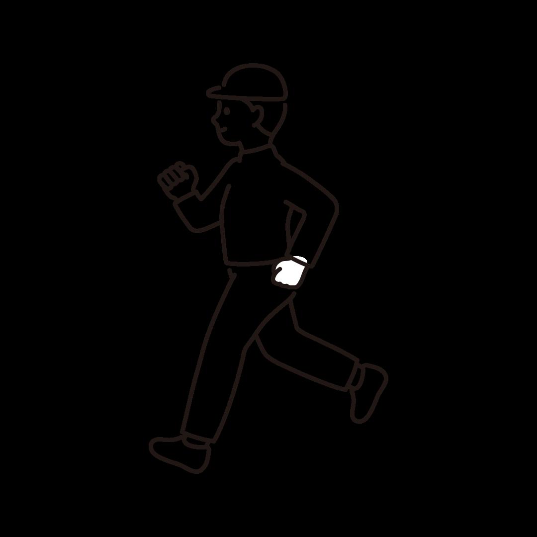ジョギングをする男性のイラスト【線画】