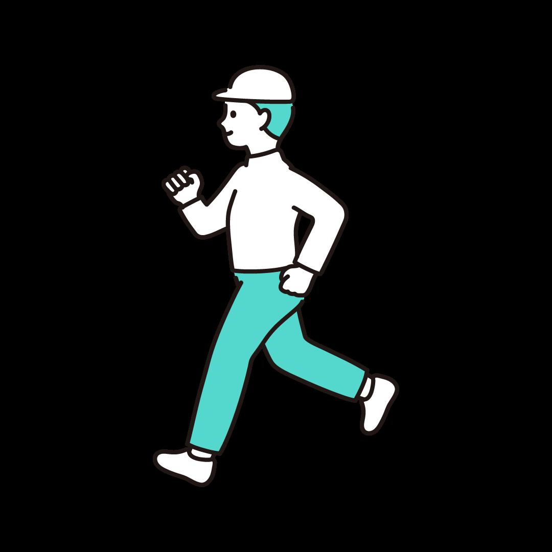 ジョギングをする男性のイラスト【単色】
