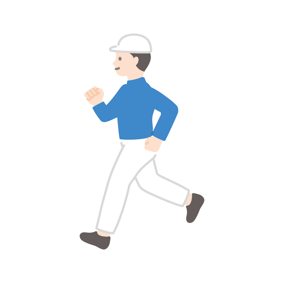 ジョギングをする男性のイラスト【塗り】