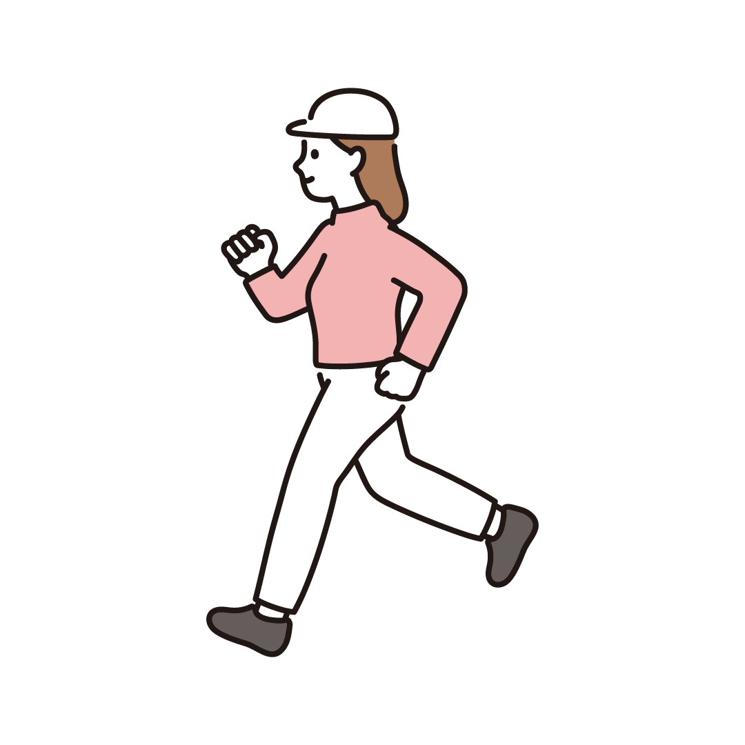 ジョギングをする女性のイラスト