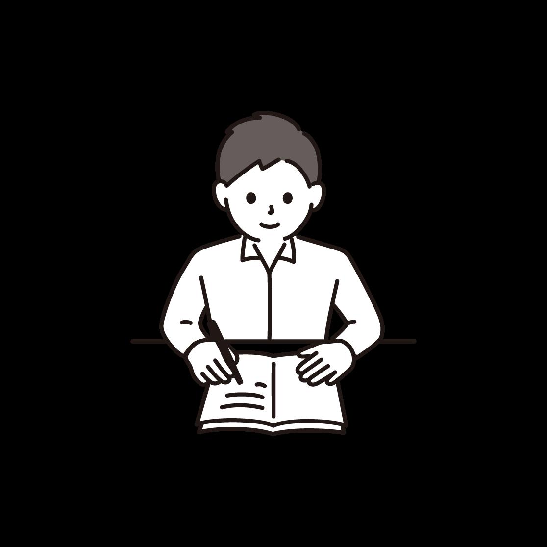 勉強をする男性のイラスト