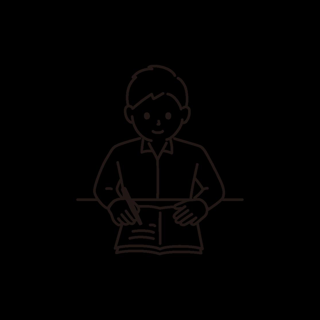 勉強をする男性のイラスト(線画)
