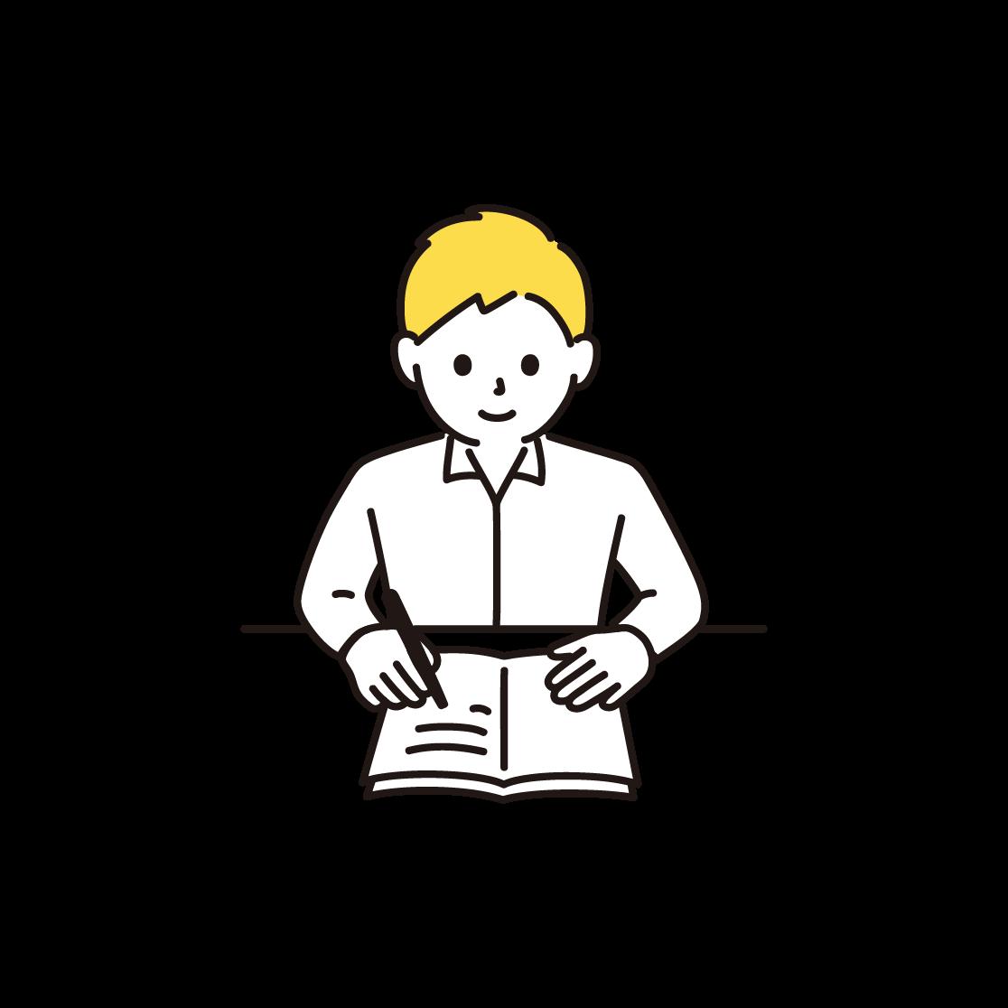 勉強をする男性のイラスト(単色)