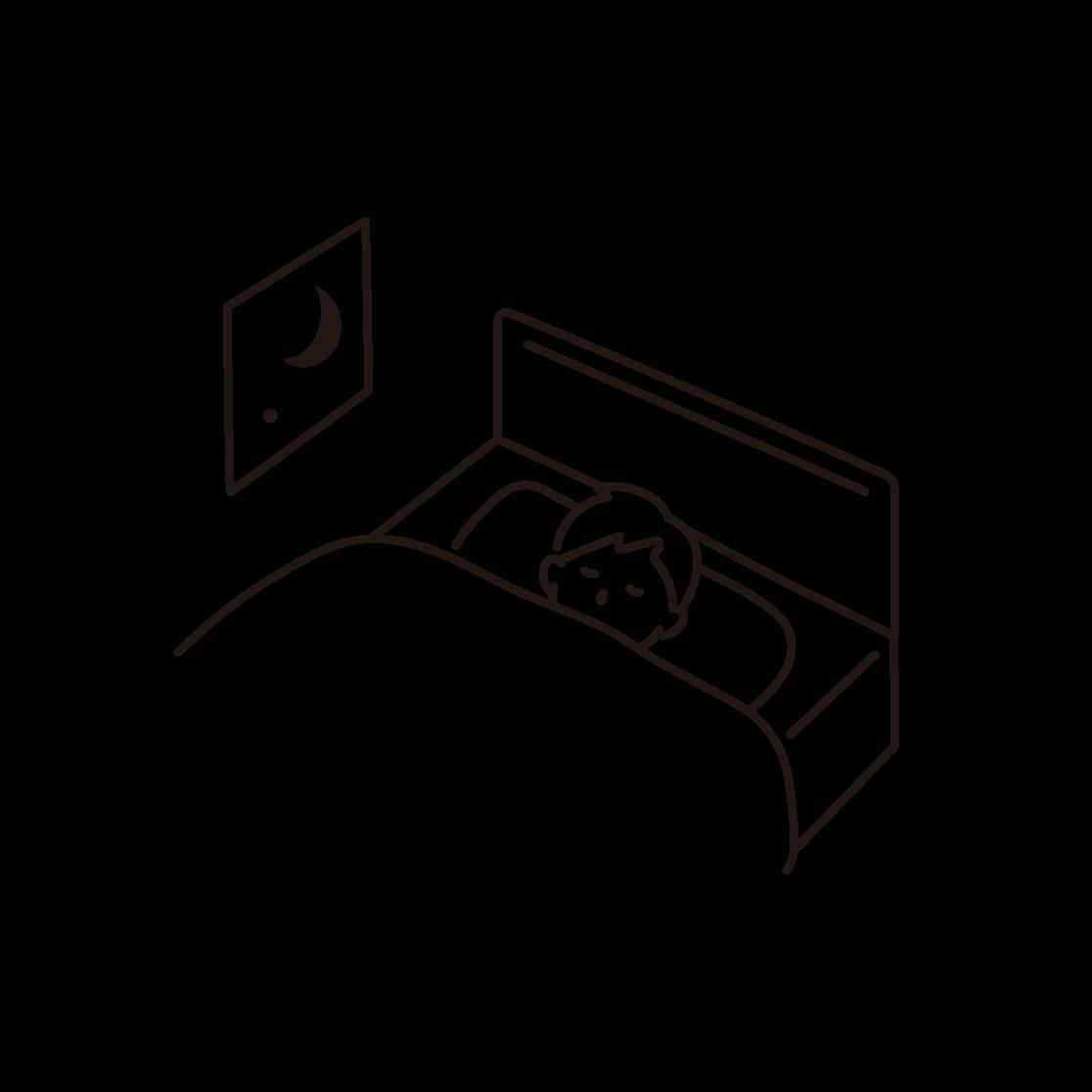 寝ている男性の線画イラスト