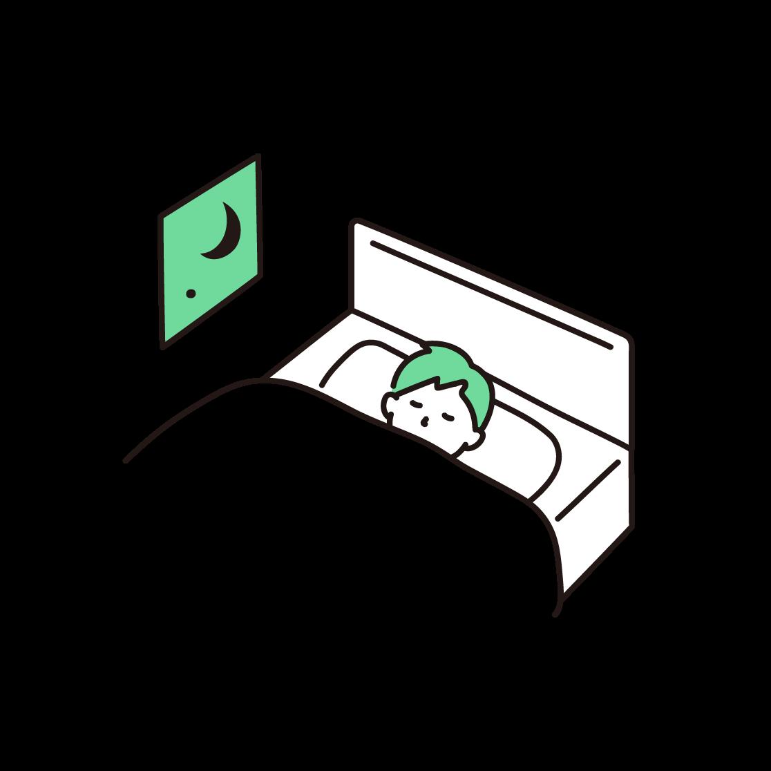 寝ている男性の単色イラスト
