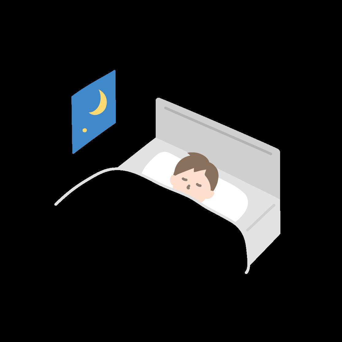 寝ている男性の塗りイラスト