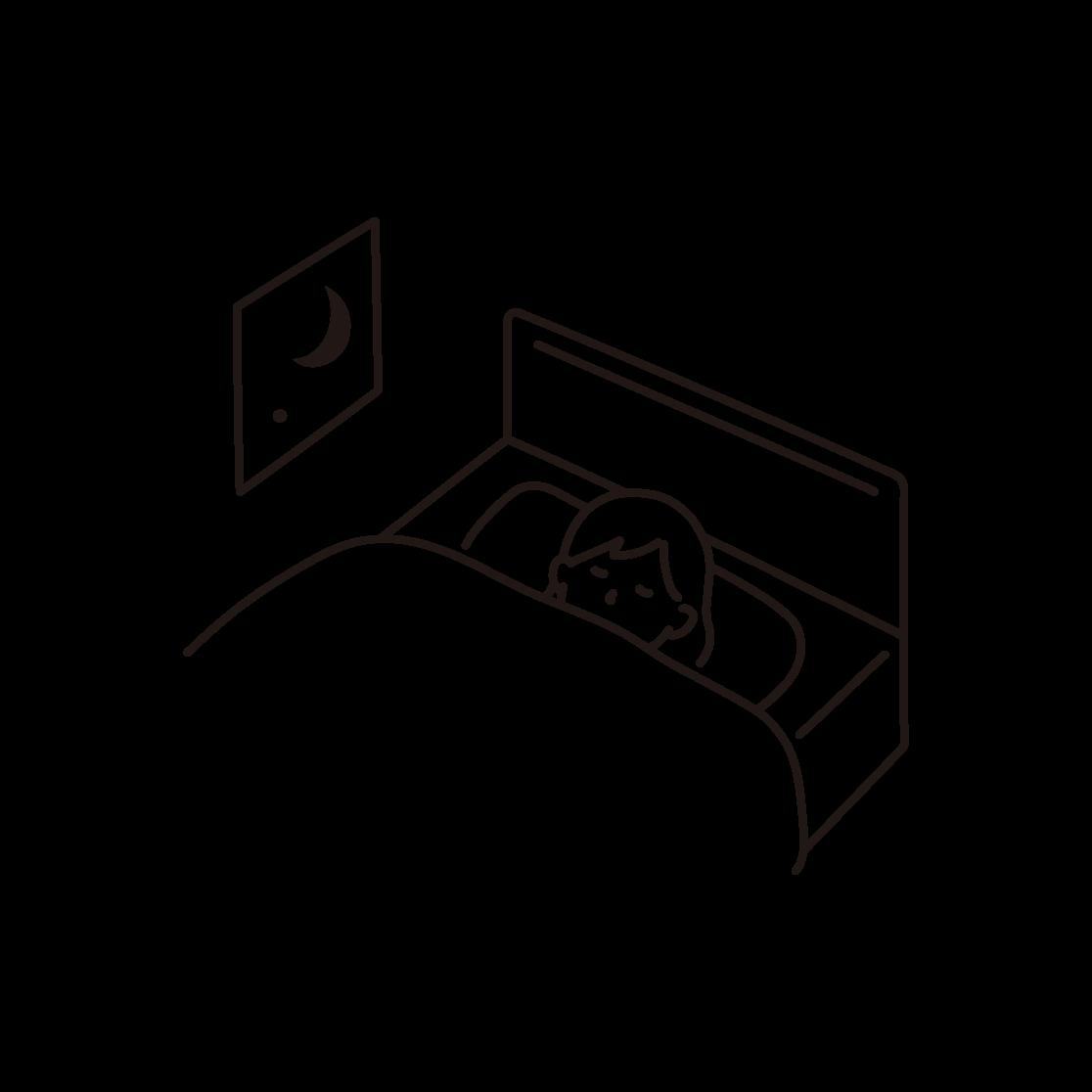 寝ている女性の線画イラスト