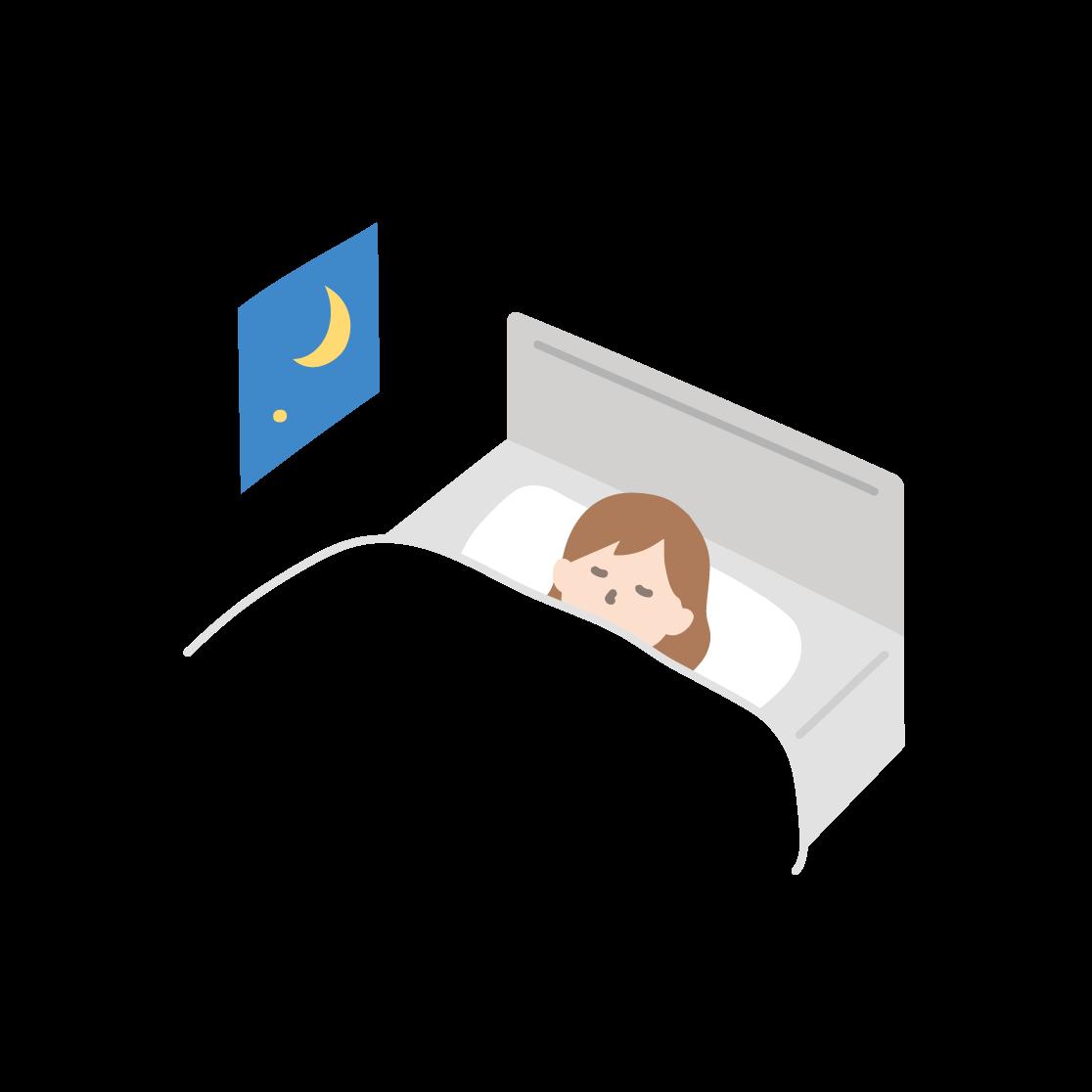 寝ている女性の塗りイラスト