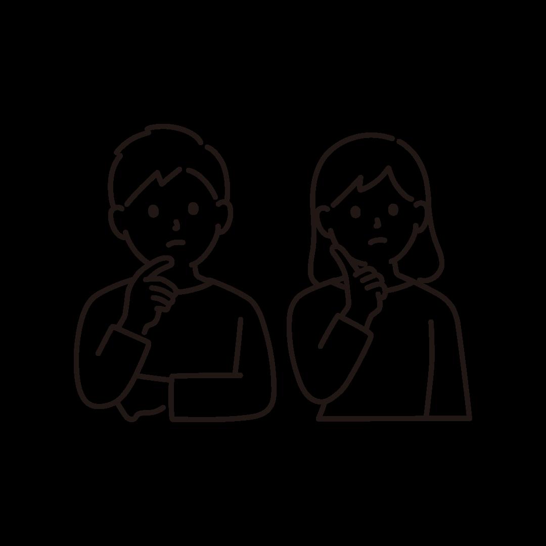 考え事をする夫婦のイラスト【線画】