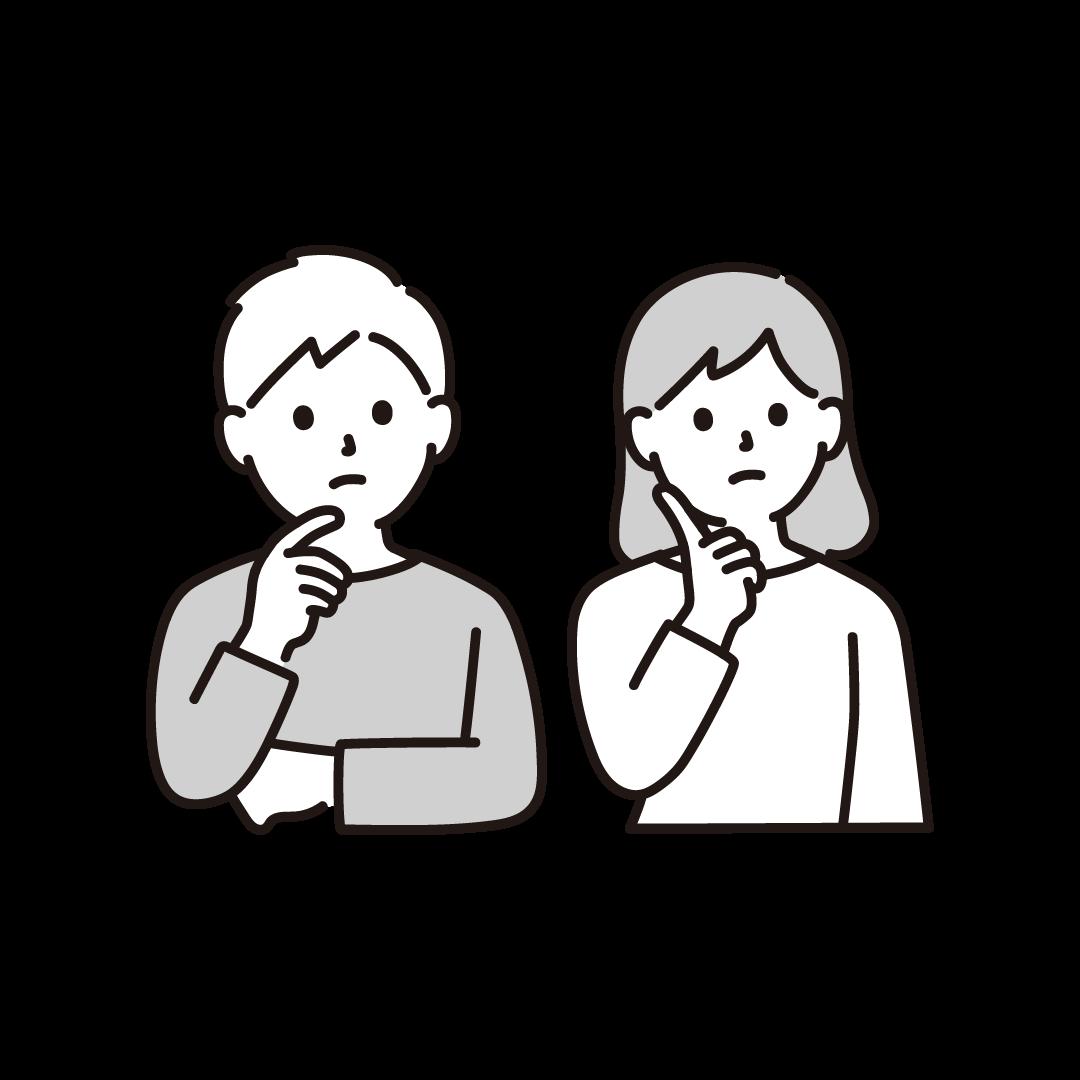 考え事をする夫婦のイラスト【単色】