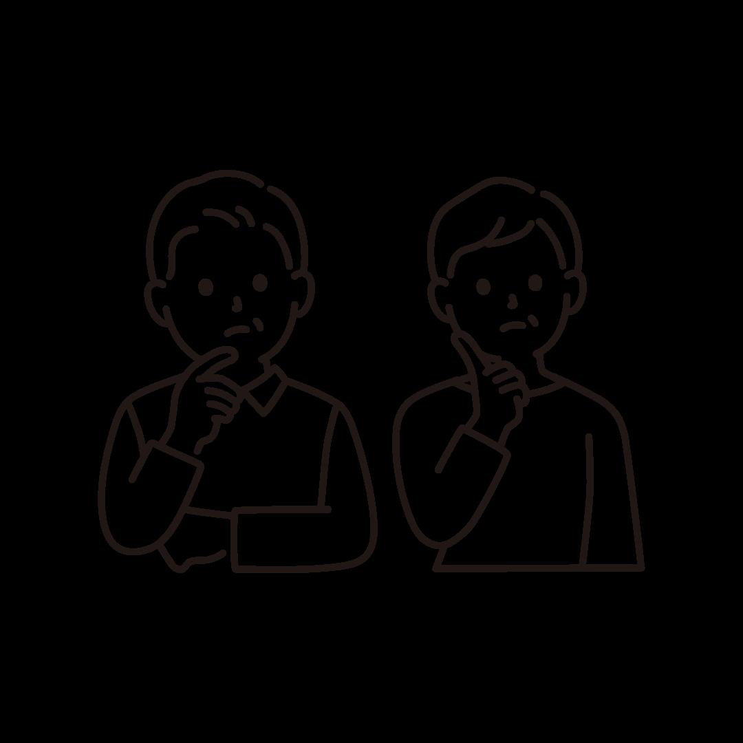 考え事をする中高年夫婦のイラスト【線画】