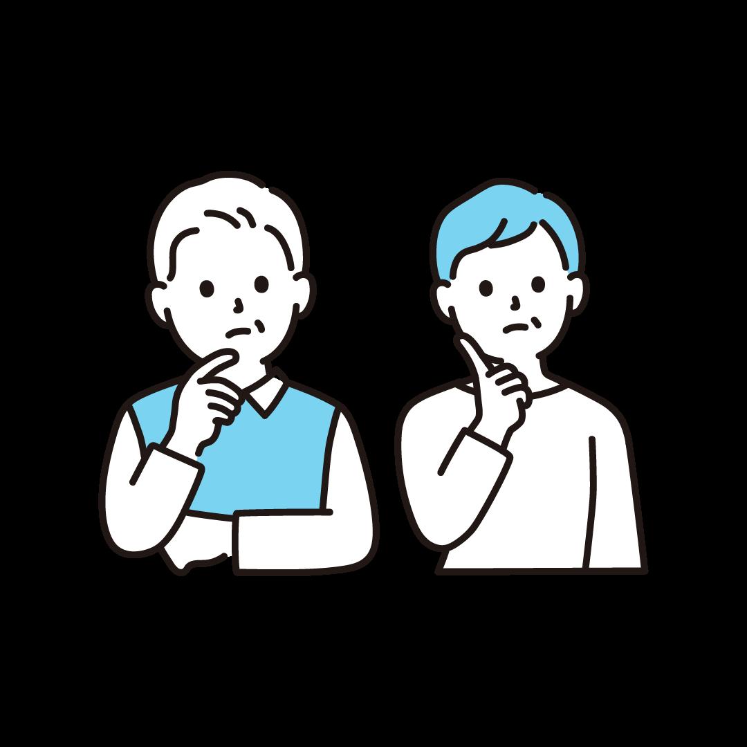 考え事をする中高年夫婦のイラスト【単色】