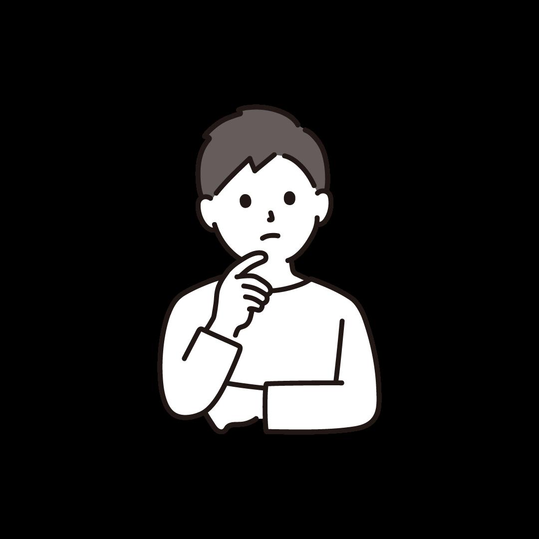 考え事をする男性のイラスト