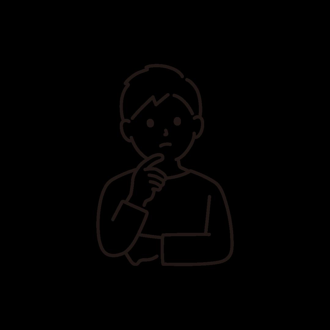 考え事をする男性のイラスト【線画】