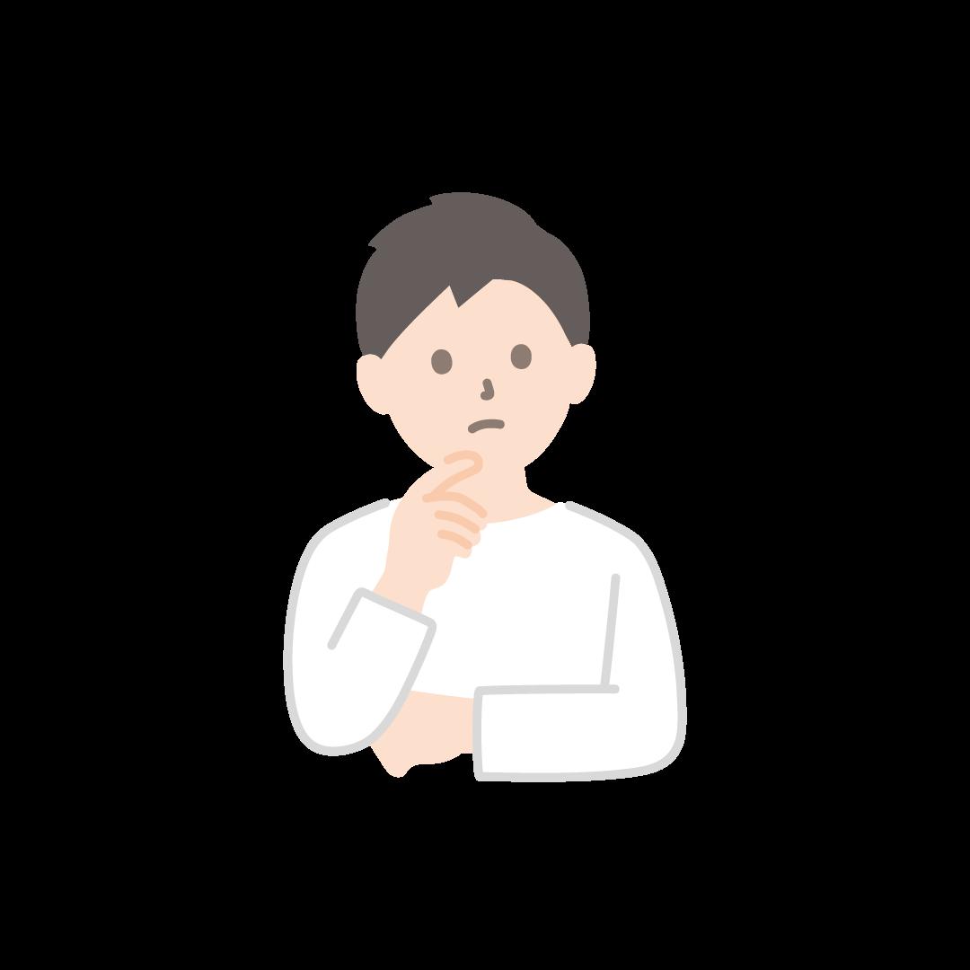 考え事をする男性のイラスト【塗り】