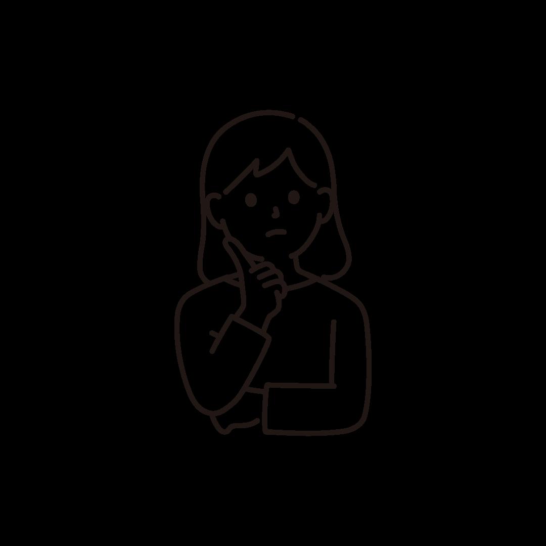 考え事をする女性のイラスト【線画】