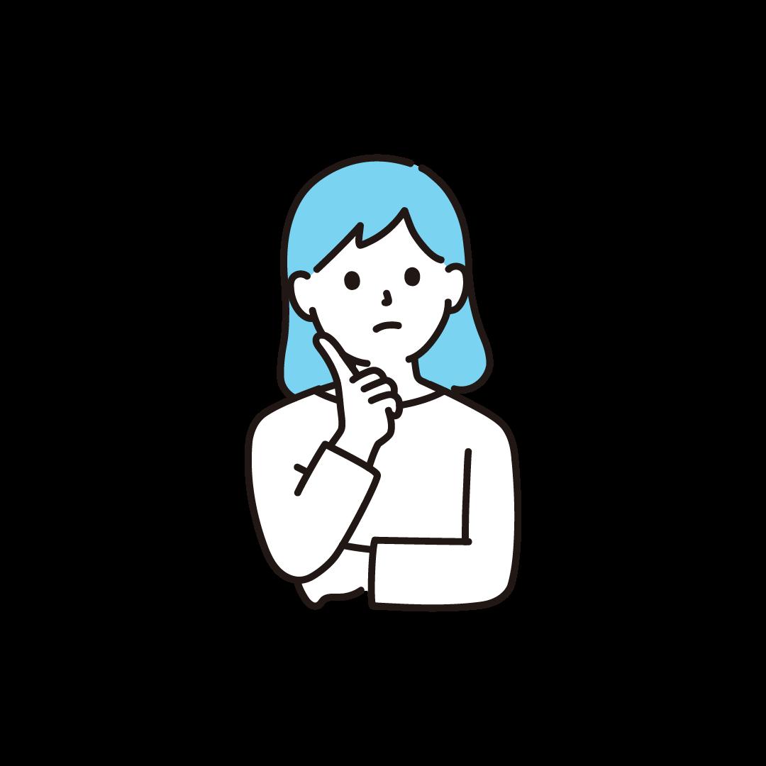 考え事をする女性のイラスト【単色】