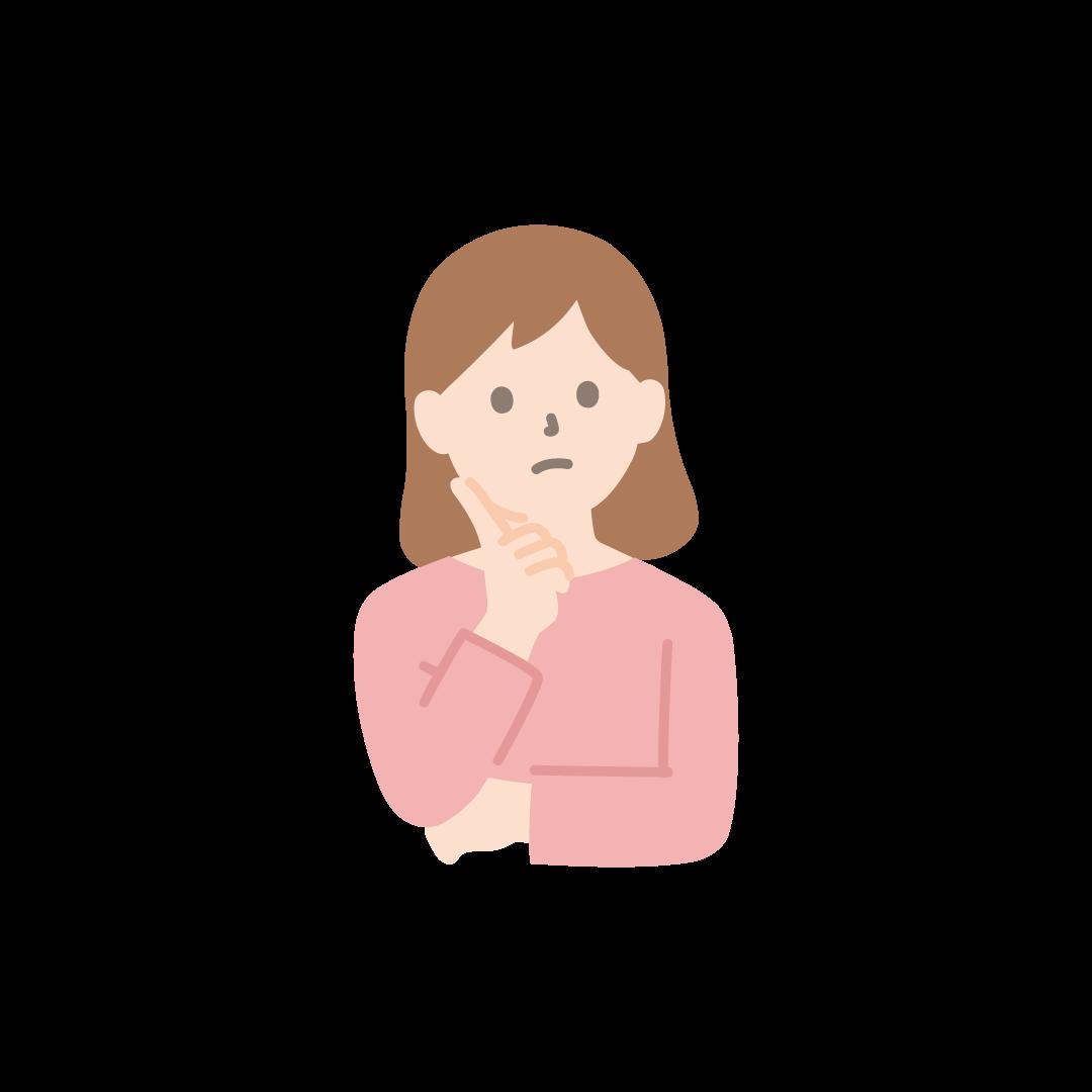 考え事をする女性のイラスト【塗り】