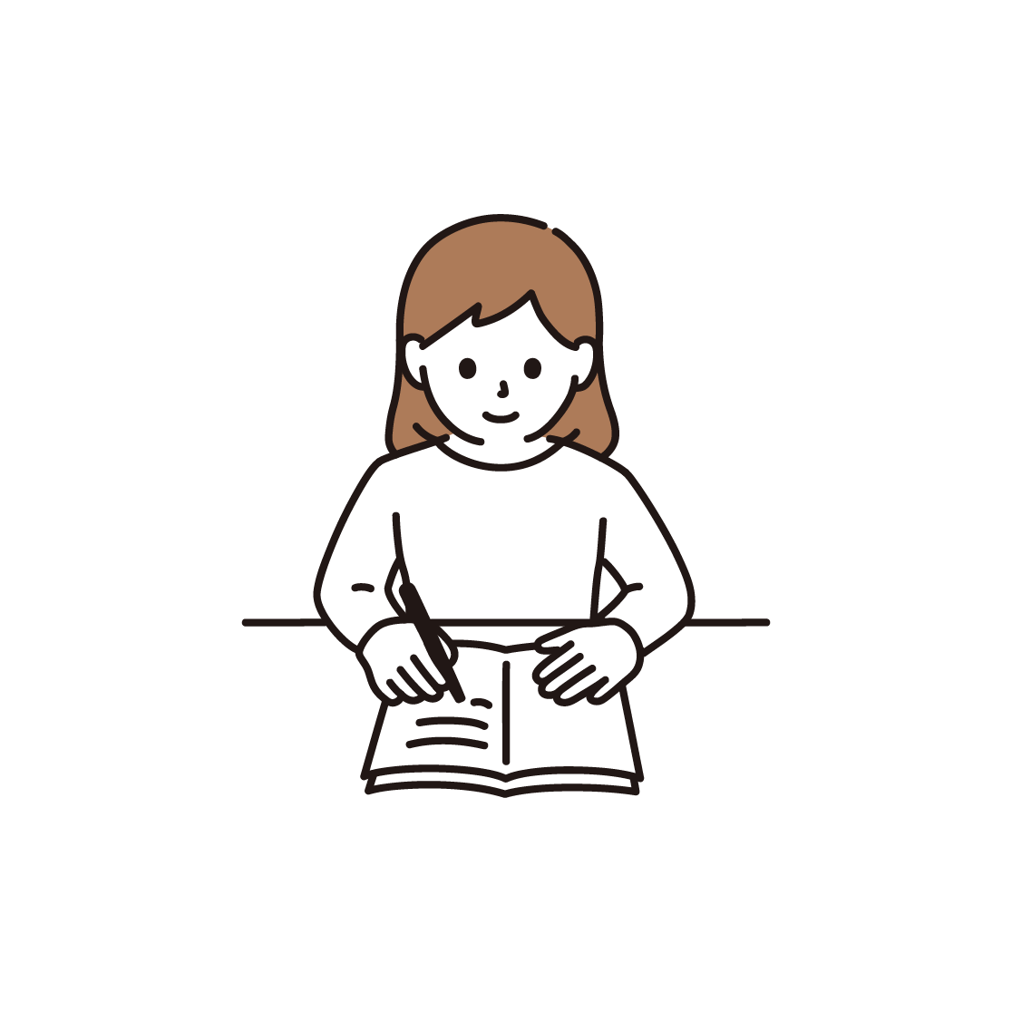勉強をする女性のイラスト