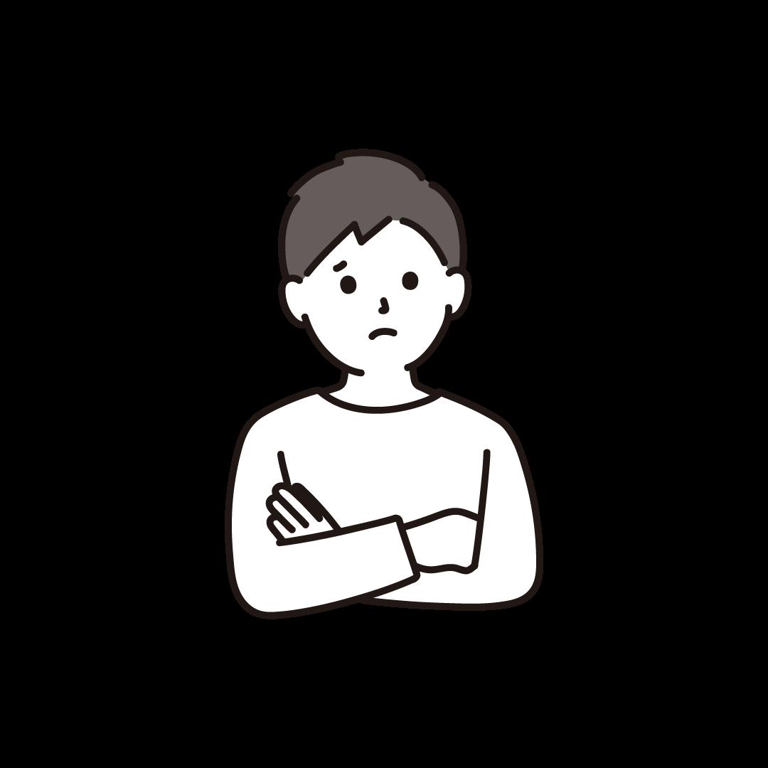 悩む男性のイラスト