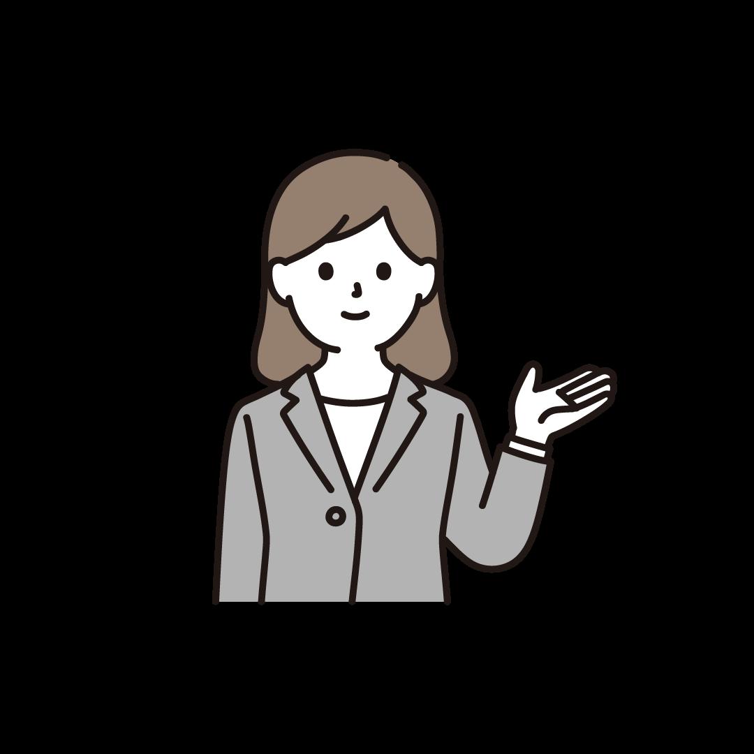 案内するビジネスパーソン(左手)のイラスト