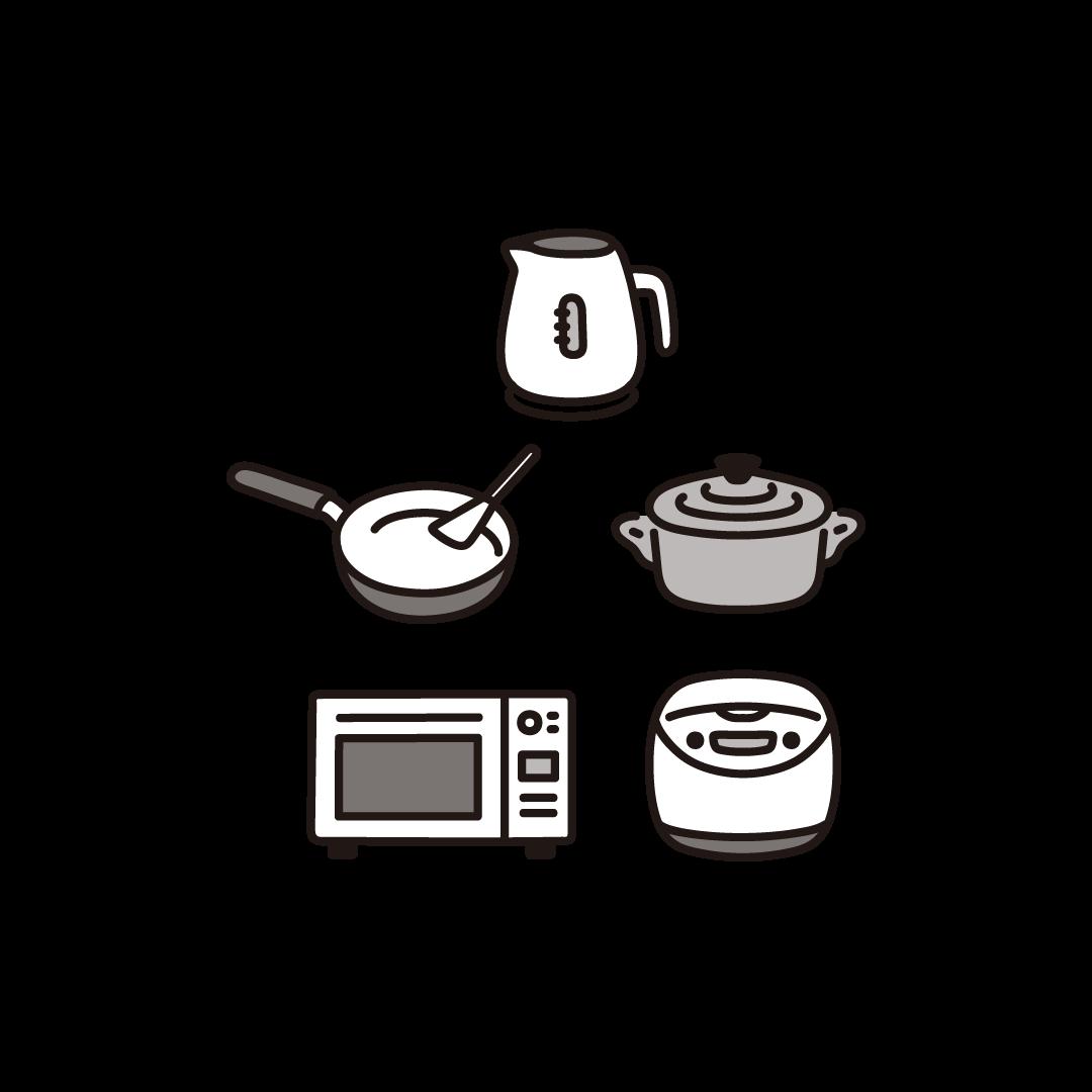 新生活(調理器具・家電)セットのイラスト