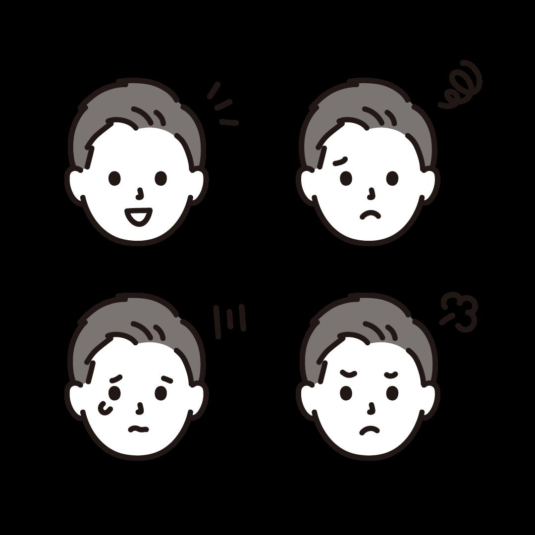 いろいろな表情(男性)のイラスト