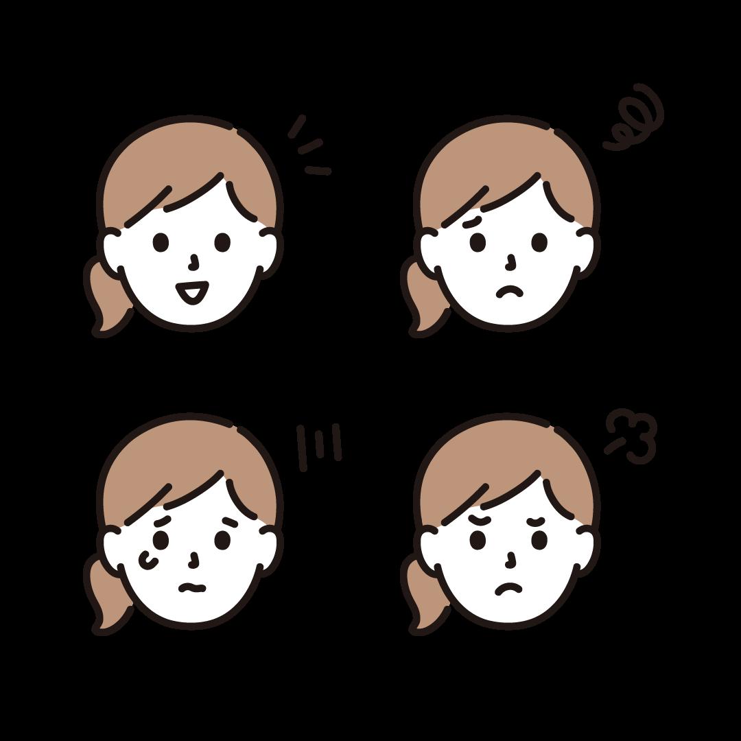 いろいろな表情(女性)のイラスト